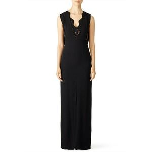 Raoul Black Lana Lace Gown 0 Scalloped Lace Inset